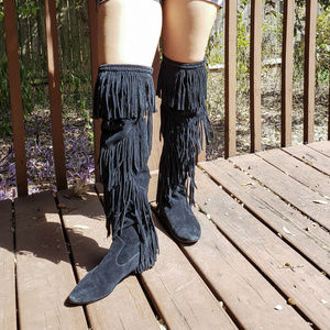 Sam Edelman thigh high suede fringe boots 7 7.5